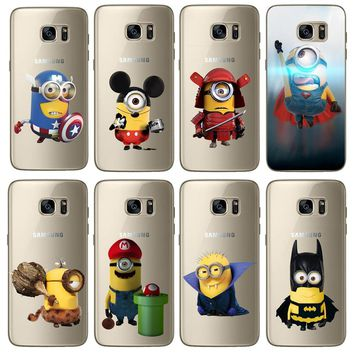 Minions Cute Cartoon CosPlay Superhero Batman Marios Soft Silicon TPU Case Cover For Samsung S5 S6 S7 Edge S8 S8Plus Cases