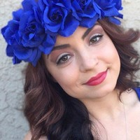 Blue Rose Headband #C1068