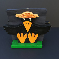 Vintage Wooden Crow Napkin Holder/Unique/Picnic Table