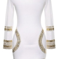 Bullet Proof Dress | Long-Sleeve Gold Studded Bodycon Dresses | RicketyRack.com