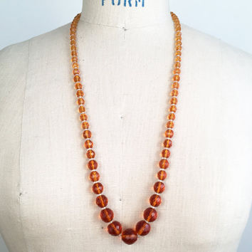 70s Jewelry Glass Bead Necklace Amber Bead Necklace Hippie Necklace Boho Necklace Bohemian Necklace Gift For Her Retro Necklace