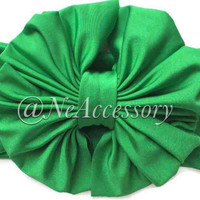 Green Messy Bow Headwrap, Big bow Headwrap,