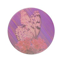 Flower and Butterfly in Pink and Purple Beverage Coasters