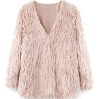 Faux Fur Long Sleeve Coat For Women