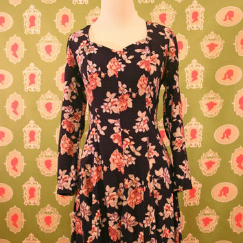 Navy and Pastel Rose Floral Skater Dress