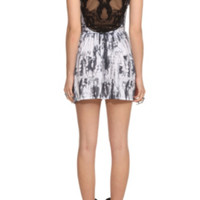 Black Tie Dye Skull Back Applique Dress