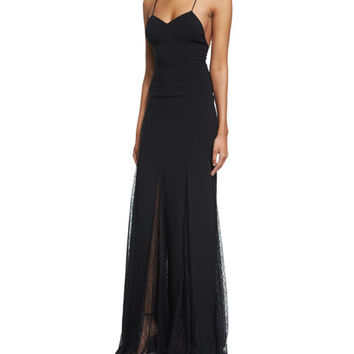 Michael Kors Collection Sleeveless Open-Back Lace-Overlay Gown, Black