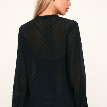 Lissette Black Swiss Dot Lace Long Sleeve Top