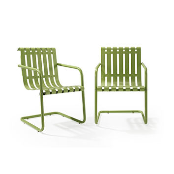 Gracie Stainless Steel Chair Green Set Of 2 Crosley Furniture Arm Chairs Patio