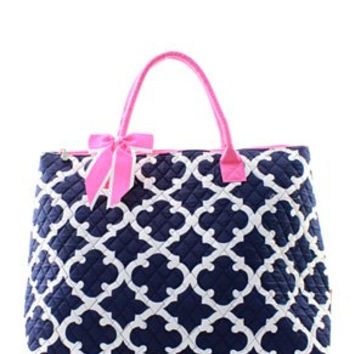Monogrammed Large Quilted Tote Bag  Navy Quatrefoil Tote Bag  Personalized Tote Bag