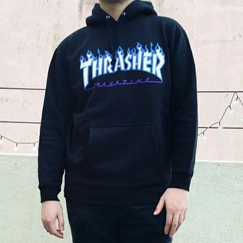HCXX 618 Thrasher Flame logo printed letters loose Pullover Hoodie with velvet pocket cotton jacket Black