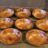 Vintage Wood Bowl Set- Woven- 9 Piece Set- Mid Century- Serving- Housewares- Kitchen Dinnerware- Retro- Salad Bowls- Snack Dishes