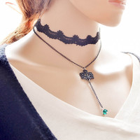 Shiny Jewelry New Arrival forever21 choker Gift Stylish Ladies Simple Faux Gem Design Layered Lace Innovative Chain Necklace [7786530055]