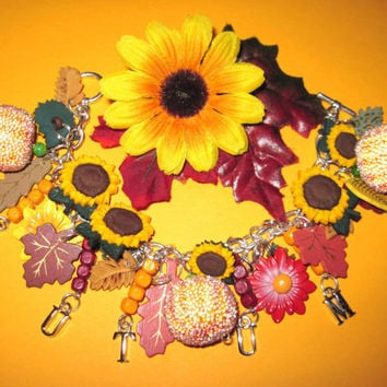 Autumn Fall Charm Bracelet Jewelry Vintage Style Fall Colors Harvest Sunflowers Pumpkins Leaves Wildflowers OOAK Statement Piece