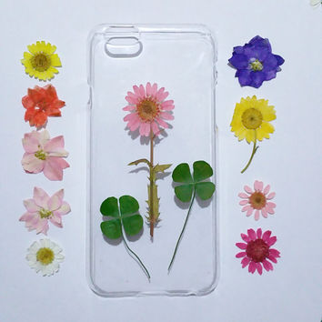 iPhone 6s Case, iPhone 6s Plus Case Clear, Pressed Flower iPhone 6 Case,flower iPhone 6s Case, iPhone 6s Plus Case, pink daisy iphone 6 case
