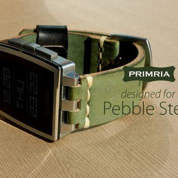 Leather Strap for Pebble Steel - Earth Green