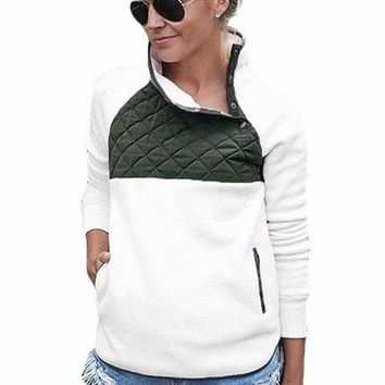 White Fleece Asymmetrical Snap Pullover