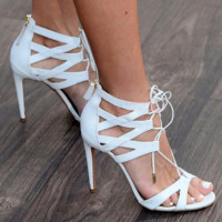 White Black Women Pumps High Heels Gladiator Roman Sandals Cross-tied Ankle Wrap Lace Up Stiletto Wedding Shoes Woman