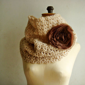 PDF CROCHET PATTERN Simple Cowl with Chiffon Flower Pin 246