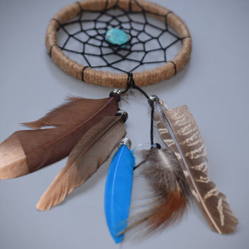 Native American Dreamcatcher, Small  Car Dreamcatcher, Natural Dreamcatcher, Turquoise stone, Hippie Decor, Car Mirror Charm