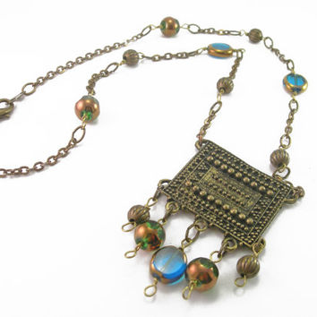 Antiqued Brass Pendant Necklace with Blue, Green and Gold Beads, Vintage Brass Chain Necklace, Mixed Metal Necklace, Antique Brass Necklace