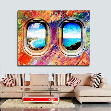 Airplane Window Seat Travel Lovers Framed Canvas Wall Art Abstract Airplane Window Art