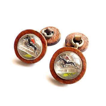 Vintage Horse Jockey Intaglio Cuff Links Reverse Carved Painted Glass Leather Button Style Toggle Cufflinks Equestrian Steeplechase