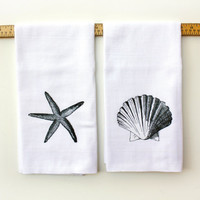 Beach Decor Kitchen Towels - 2 Pack Sea Shell and Starfish- Kitchen Flour Sack TeaTowel- Cotton Towel -Home Decor