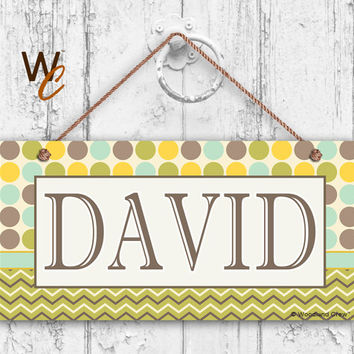 "Nursery Sign, Fun Patterns and Designs, Room Sign, Personalized Sign, Kid's Name, Door Sign, Nursery Art, 5"" x 10"" Sign, Made To Order, ST01"