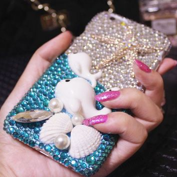 For Mobile Phone Bling Luxury Dolphin Starfish Shell Diamonds Hard Cover Case