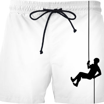 Climbing man swim shorts, black and white clipart design, funny extreme sports clothing