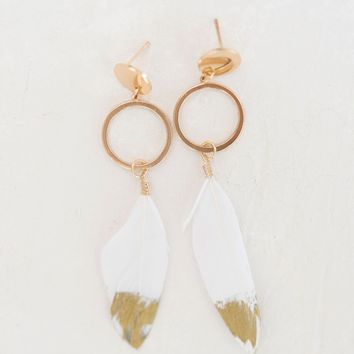Gold Dipped Feather Earrings - White
