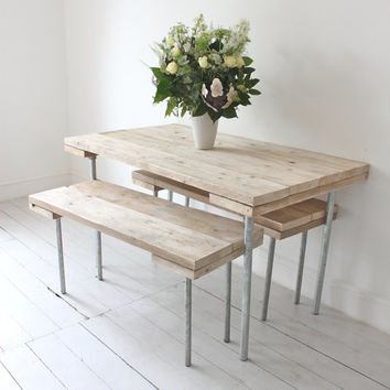 Reclaimed Scaffolding Board and Galvanised Steel Pipe Dining Table and Benches - Bespoke Urban Industrial Furniture by www.inspiritdeco.com