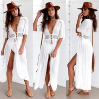 Women Beach Bikini Cover up Long Kaftan dress Summer Boho Maxi Dress Swimwear