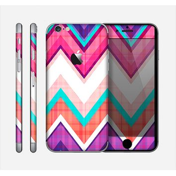 The Vibrant Teal & Colored Chevron Pattern V1 Skin for the Apple iPhone 6