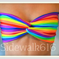 Rainbow Strip Bandeau Top Spandex Bandeau Bikini Swimsuit