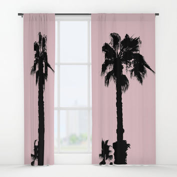 Palm Tree Silhouettes On Pink Window Curtains by ARTbyJWP