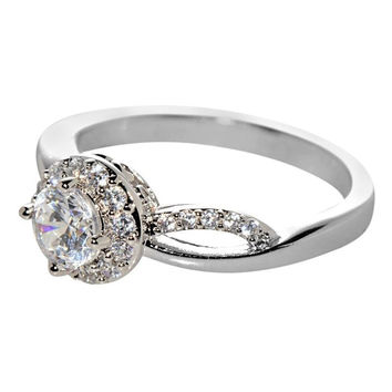 925 Sterling Silver Engagement Ring White CZ Cubic Zirconia