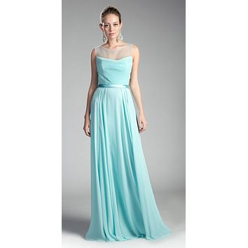 Illusion Cowl Neckline A-Line Long Formal Dress Cut Out Back Mint