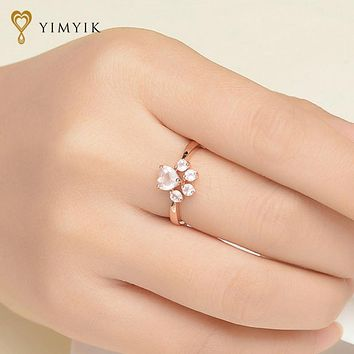 YimYik 925 Sterling Silver Ring Fine Jewelry Rose Gold Romantic Wedding Bear's Paw 5mm 100% Natural Pink For Love