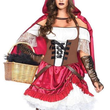 CREYI7E 2PC.Rebel Riding Hood,pick-up peasant dress,hooded cape in MULTICOLOR