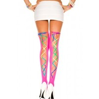 Pink Ribbon Lace Up Backseam Opaque Stockings