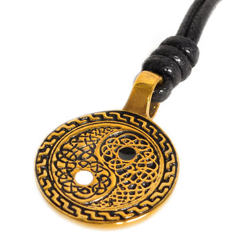 Ying Yang Celtic Design Handmade Brass Necklace Pendant Jewelry