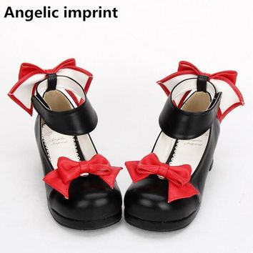 Angelic imprint handmade woman mori girl lolita cosplay shoes lady high heels pumps women princess dress party shoes 4.5cm 33-47