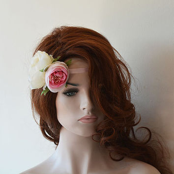 Flower Headband, Halo Headband, Pink Flowers, Wreath, Hair Accessories, Crown Heaband, Hair Wreath Headpiece, Wedding Hair Accessories