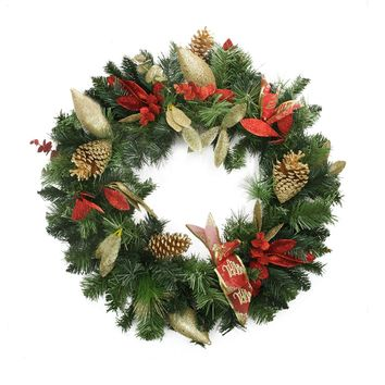 "24"" Pre-Decorated Gold Pine Cone Eucalyptus and Red Bow Artificial Christmas Wreath - Unlit"
