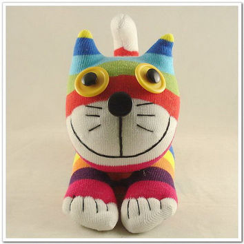 Handmade Sock Cat Kitty Stuffed Animal Doll Baby Toys