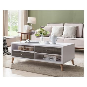 Weller Transitional Two Drawers Coffee Table Distressed Gray and White - HOMES: Inside + Out