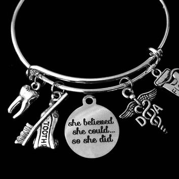 She Believed She Could Dental Assistant Jewelry DA Expandable Charm Bracelet Silver Tooth Floss Toothpaste Toothbrush Adjustable Wire Bangle One Size Fits All Gift