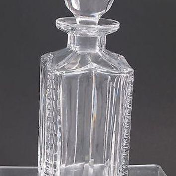 Hand Cut glass square decanter notched corners crystal
